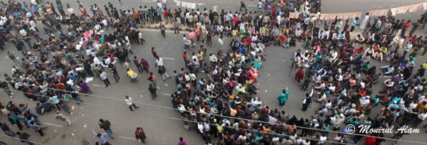 DEC 09 2012-Dhak, Bangladesh- Top view at BNP office an bnp activities shout slogan and road blocked during the road blocked of BNP on Sunday. The BNP led opposition alliance is observing eight hours countrywide road blocked. They are demanding restoration of the caretaker government system. © Monirul Alam