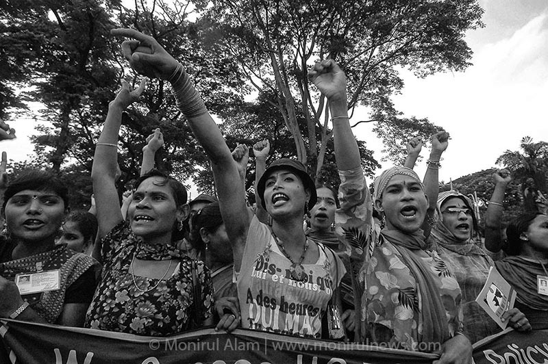 Hundreds of sex workers and eunuch raised their strong voice in protest of the policy of Bush administration of USA that prohibit US global AIDS fund from going to any group or organization that does not oppose prostitution and thereby opposing the rights of sex workers in Dhaka, Central Shaid Minar.Dhaka 2005 © Monirul Alam